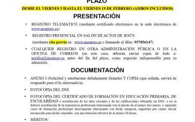 CREACIÓN BOLSA DE PERSONAL DE LIMPIEZA DEL AYUNTAMIENTO DE MONTORO